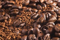 Coffee background. Coffee-beans and instant coffee background Royalty Free Stock Images