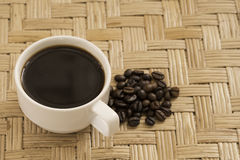 Coffee background. Bean full cup stock photos