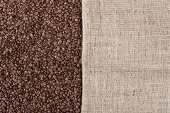 Coffee background with beans and a canvas Royalty Free Stock Images