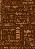 Coffee background in brown with text elements Royalty Free Stock Images