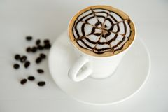 Coffee background: Close-up of a beans, cup Royalty Free Stock Images