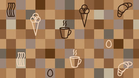 Coffee background. Coffe square vector backround with breakfest motives Royalty Free Stock Images