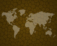 Coffee background 3 with world map Royalty Free Stock Photos