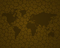Coffee background 3 with brown world map Royalty Free Stock Photos