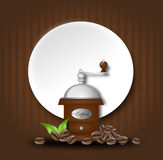 Coffee background with coffee beans and grinder. Illustration of background with grinder and coffee beans decoration Royalty Free Stock Photography