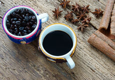 Coffee background, coffee cup, coffee bean Stock Images