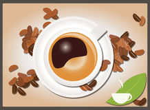 Coffee background with coffee cup and coffee beans, vector Stock Images