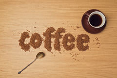 Coffee background with coffee cup and instant coffee. Royalty Free Stock Photos