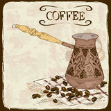 Coffee background with copper turk Stock Image