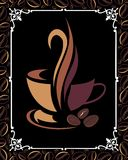 Coffee background with cup. Cup butterfly bean frame coffee cappuccino drink Royalty Free Stock Photography