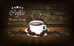 Coffee  background with cup and coffee bean Stock Photo