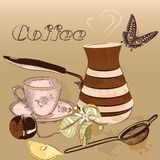 Coffee background with cup of coffee Stock Images