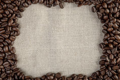 Coffee background frame beans with textile photo Royalty Free Stock Photography