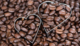 Coffee Background (with Hearts) Royalty Free Stock Photo