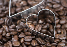 Coffee Background (with Hearts) Stock Images