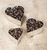 Coffee Background (with Hearts) Stock Photos