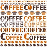 Coffee. Background for coffee houses, restaurants, snack bars an. D coffee machines, which consists of words with coffee symbols. Vector Illustration Stock Image