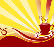 Coffee background logo vector. Wave bottom png floral brown. hot coffee cup Royalty Free Stock Images
