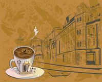 Coffee background with old town views and a cup of coffee Stock Photo