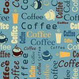 Coffee background in retro style. Seamless coffee pattern. Vecto Stock Photo