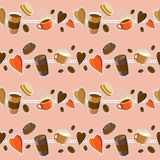 Seamless coffee pattern. Aromatic coffee in different cups and g. Coffee background. Seamless pattern. Hot coffee. Drinks and coffee beans. Concept - I like Royalty Free Stock Photography