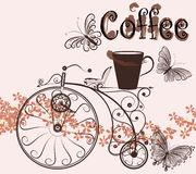 Coffee background with swirl old-fashioned bicycle and coffee Stock Image