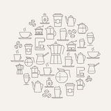 Coffee Background - thin line icons. Royalty Free Stock Photography