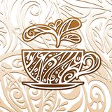 Coffee background, vector illustration. Background with ornated coffee cup, vector illustration Stock Photos