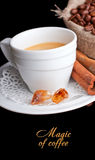 Coffee background and white cup Stock Photography