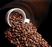 Coffee background and white cup Royalty Free Stock Photo