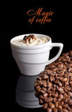 Coffee background and white cup Royalty Free Stock Images