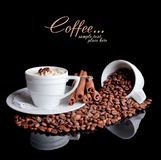 Coffee background and white cup Stock Photos