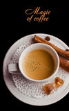 Coffee background and white cup Royalty Free Stock Photography