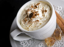 Coffee background and white cup Stock Photo