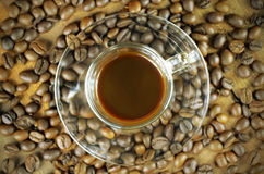Coffee Backgrounds with Coffee Beans on Wood.Coffee Lover Stock Image