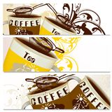 Coffee backgrounds set with cups of coffee and tea Stock Images