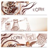 Coffee backgrounds set. Coffee vector brochures set with hand drawn coffee for design Royalty Free Stock Images