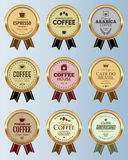 Coffee badge collection. Set of coffee badges with ribbon Stock Photography