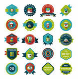 Coffee badge design flat background set, eps10 Stock Photos