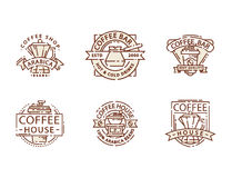 Coffee badge food thin line lettering for restaurant, cafe menu coffee house and shop sticker vector. Royalty Free Stock Images