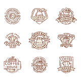 Coffee badge food thin line lettering for restaurant, cafe menu coffee house and shop sticker vector. Stock Images