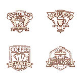 Coffee badge food thin line lettering for restaurant, cafe menu coffee house and shop sticker vector. Royalty Free Stock Image
