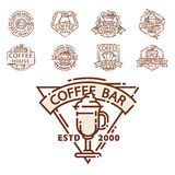 Coffee badge food thin line lettering for restaurant, cafe menu coffee house and shop sticker vector. Stock Photo