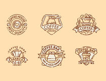 Coffee badge food thin line lettering for restaurant, cafe menu coffee house and shop sticker vector. Stock Image