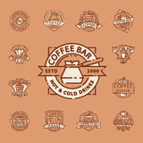 Coffee badge food thin line lettering for restaurant, cafe menu coffee house and shop sticker vector. Royalty Free Stock Photo