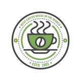 Coffee badge logo food design thin line lettering for restaurant, cafe menu coffee house and shop element beverage label Stock Photos
