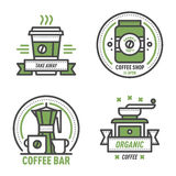 Coffee badge logo food design thin line lettering for restaurant, cafe menu coffee house and shop element beverage label Royalty Free Stock Photos