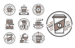 Coffee badge logo food design thin line lettering for restaurant, cafe menu coffee house and shop element beverage label Royalty Free Stock Images