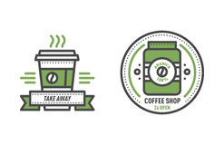 Coffee badge logo food design thin line lettering for restaurant, cafe menu coffee house and shop element beverage label Stock Photography