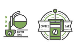 Coffee badge logo food design thin line lettering for restaurant, cafe menu coffee house and shop element beverage label Stock Images